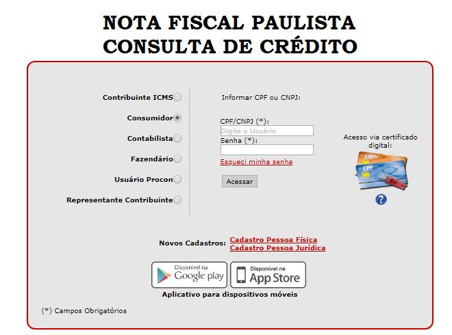 nota fiscal paulista consulta de crédito